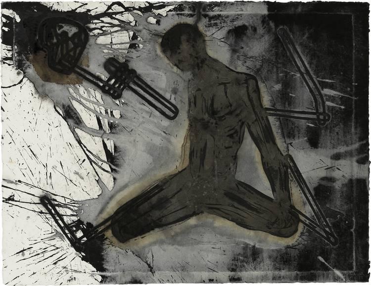 Kunstwerk - Sammlung Klein - Nussdorf - Museum - Kunst - Art - Baden-Württemberg - Michael Morgner - Tod und Mensch - 1988 - Lavage mit Prägung